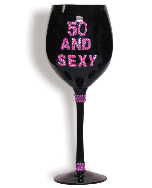 50 & Sexy Wine Glass - Black