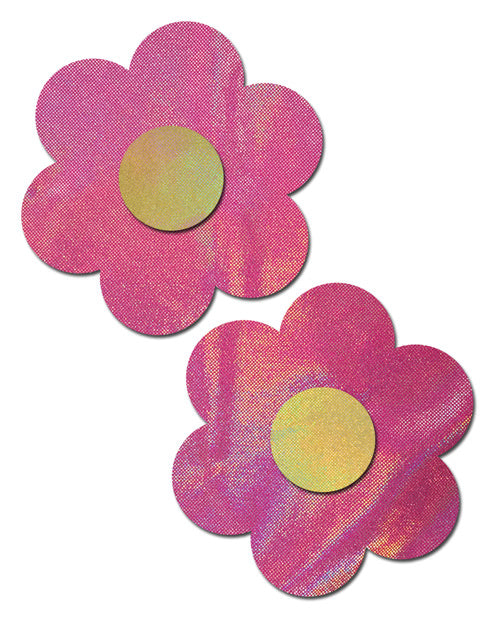 Holographic Bubblegum Pink Flower with Yellow Center Nipple Pasties