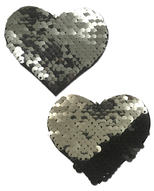 Color Changing Flip Sequins Heart - Slate/Black O/S