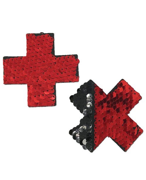 Color Changing Flip Sequins Cross - Red/Black O/S