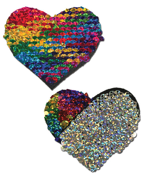 Color Changing Flip Sequins Heart - Rainbow O/S