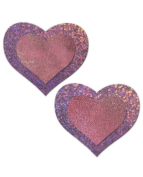 Lilac Glitter Heart with Baby Pink Centers Nipple Pasties