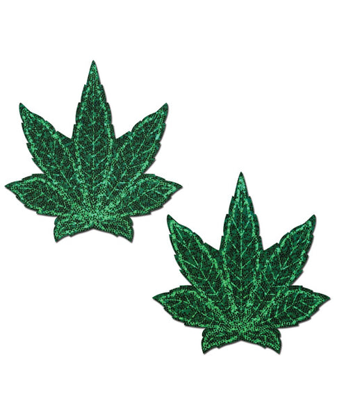 Glitter Green Weed Nipple Pasties