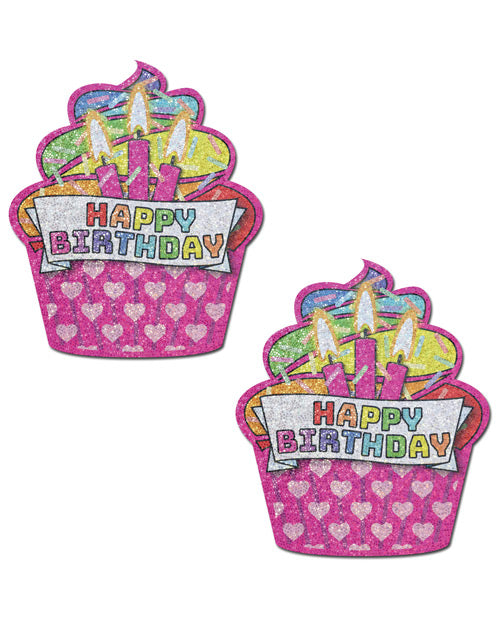 Pink & Multi-Color Glitter Happy Birthday Nipple Pasties
