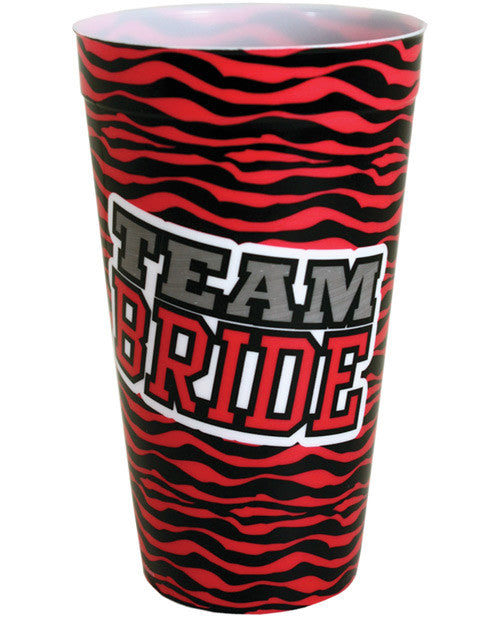 Pink and Black Zebra Team Bride Drinking Cup
