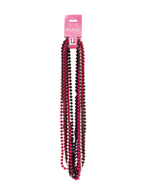 Diva Beads - Black, Silver & Pink Pack of 12