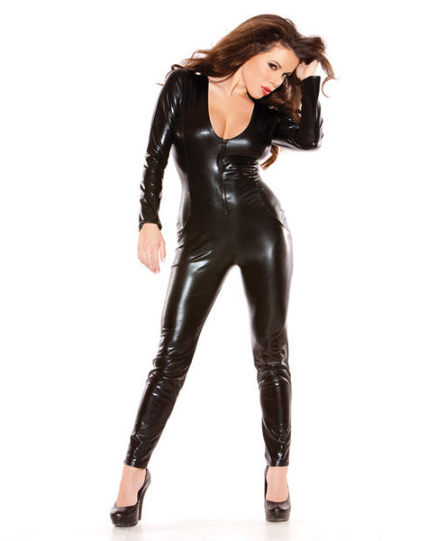 Kitten Wet Look Catsuit Long Sleeves