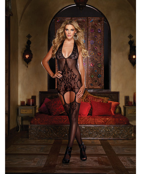 Halter Garter Dress w/Baroque Design