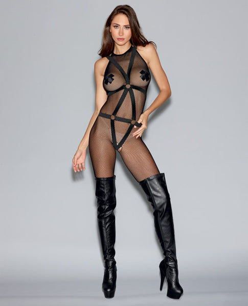 Fishnet Bodystocking w/Open Crotch & Elastic Body Harness Black
