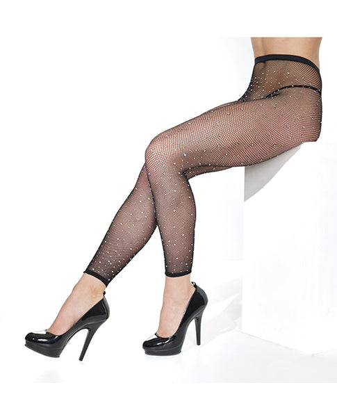 Footless Fishnet Pantyhose with rhinestones