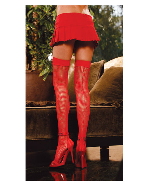 Fishnet Thigh Highs w/Back Seam Red