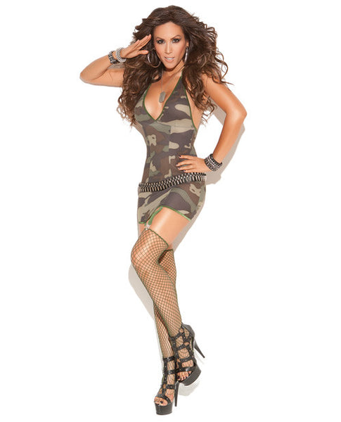 Mini Dress w/Garters, Diamond Net Stockings Camouflage
