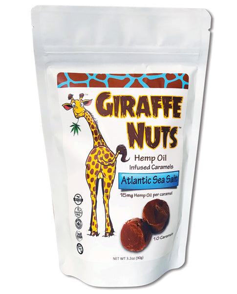 Giraffe Nuts Hemp Oil Infused Caramels - Atlantic Sea Salt Pack of 10