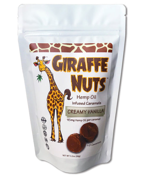 Giraffe Nuts Hemp Oil Infused Caramels - Creamy Vanilla Pack of 10