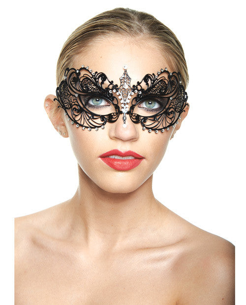 Kayso Classic Venetian Style Laser Cut Mask - Black