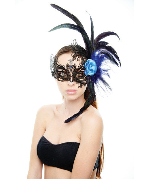 Kayso Laser Cut Mask w/Blue Rose & Feathers - Black