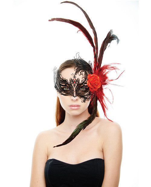 Kayso Laser Cut Mask w/Red Rose & Feathers - Black