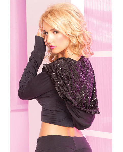 Loungewear Stretch Cropped Hoodie w/Giant Sequin-Lined Hood