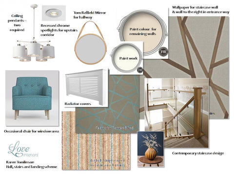 Moodboard for a contemporary hallway and landing
