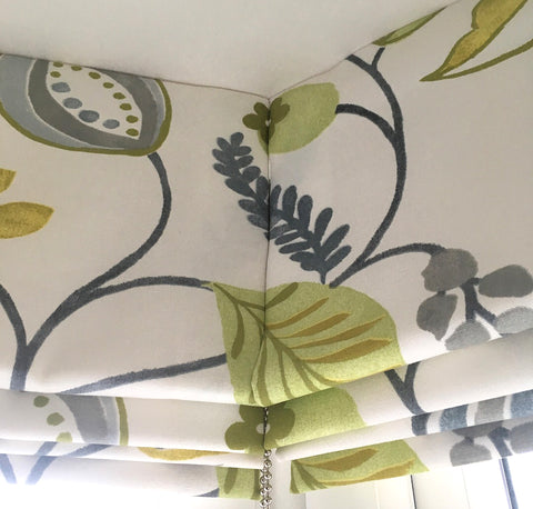 Lime green and grey floral Roman blinds showing perfect pattern matching