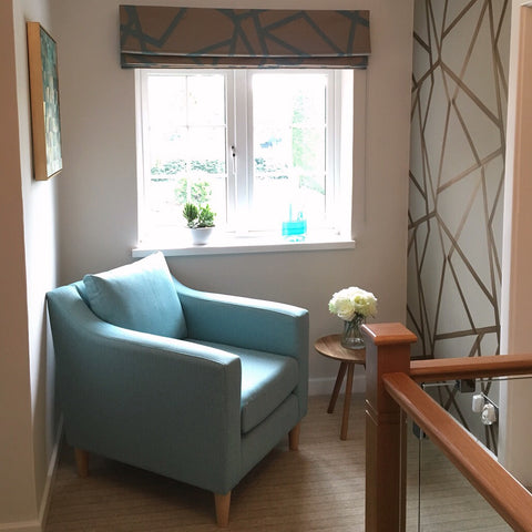 Landing with armchair, Roman blind and Harlequin wallpaper