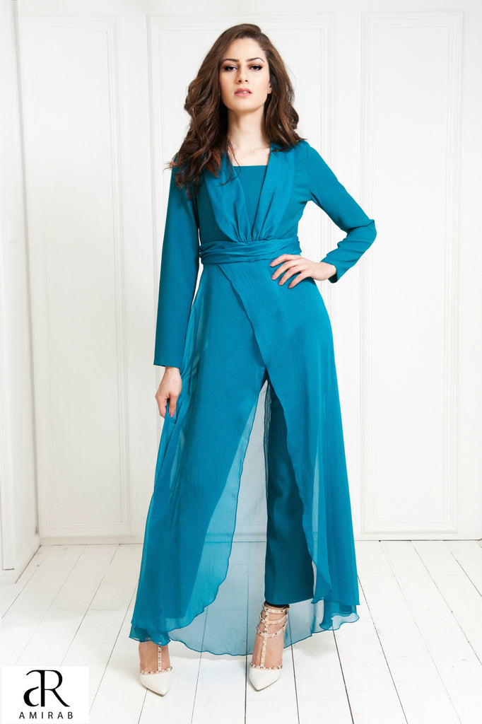 one piece teal green crepe long sleeve ladies jumpsuit hijab style