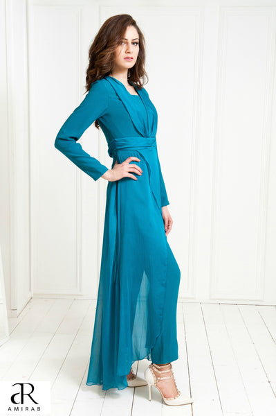 chiffon overlayed occasion wear jumpsuit