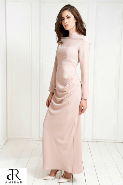 women's tailored with sleeves mink maxi dress