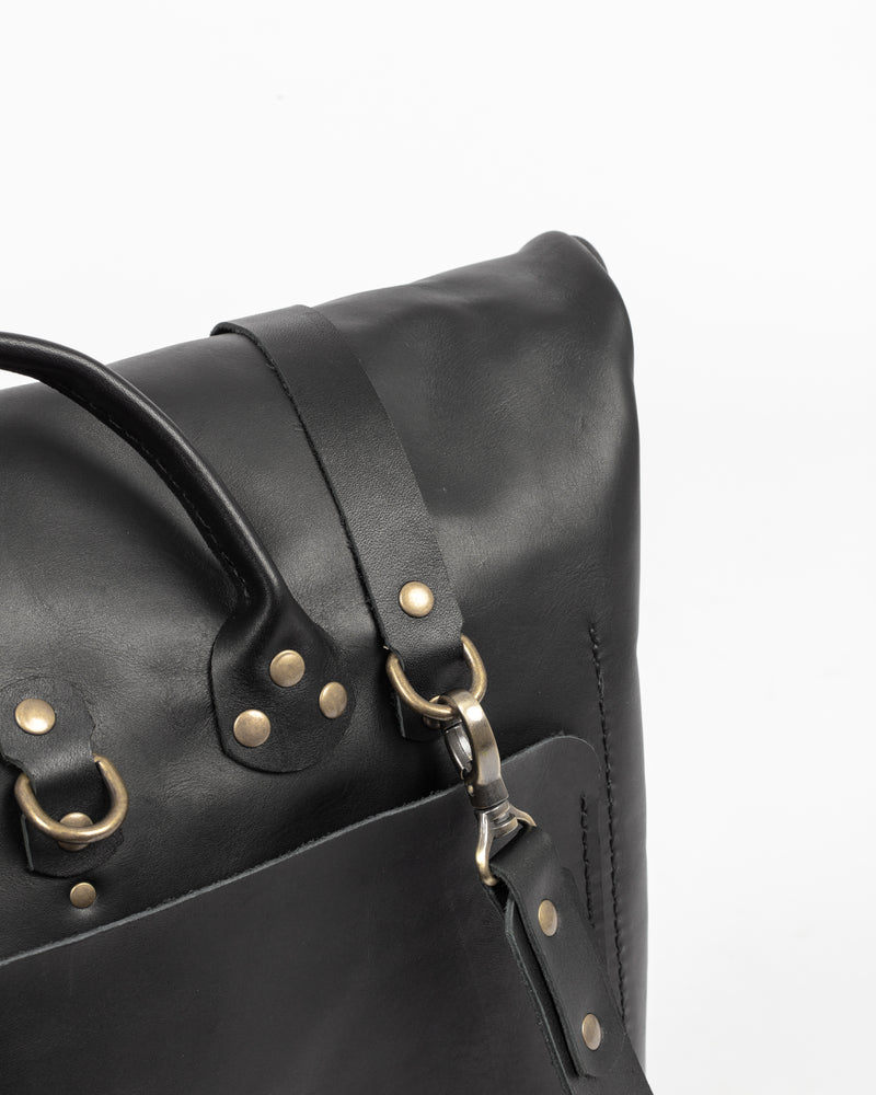Black Leather Rolltop Bag - Backpack - Wolfe Co. Apparel and Goods