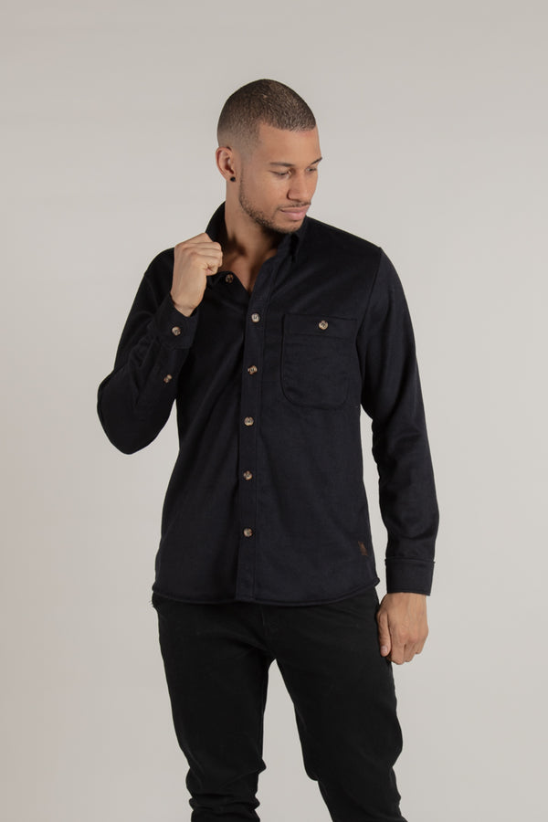 Unisex Navy Wool Button Down Made In Canada