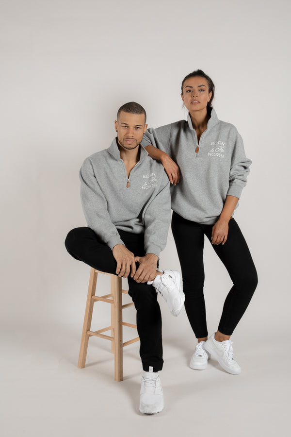 Born in the North Grey Quarter Zip - Tops - Wolfe Co. Apparel and Goods