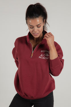 Born in the North Red Quarter Zip - Tops - Wolfe Co. Apparel and Goods