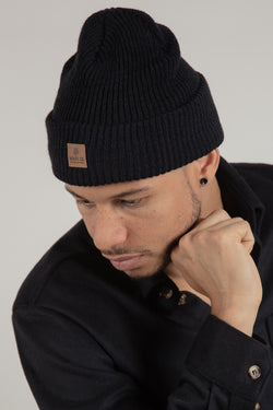 Navy Ribbed Toque Made In Canada with Leather Patch