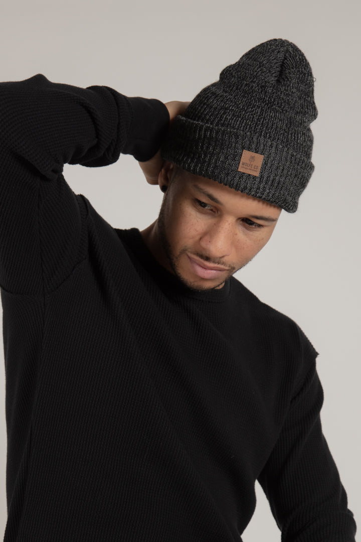 Charcoal Ribbed Toque with Leather Patch Made in Canada
