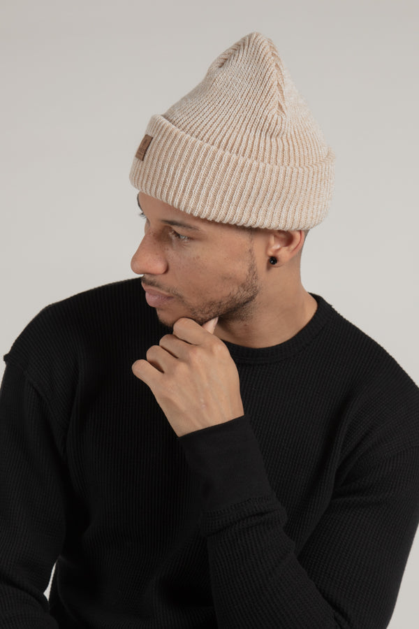 Beige Ribbed Toque with Leather Patch Made in Canada