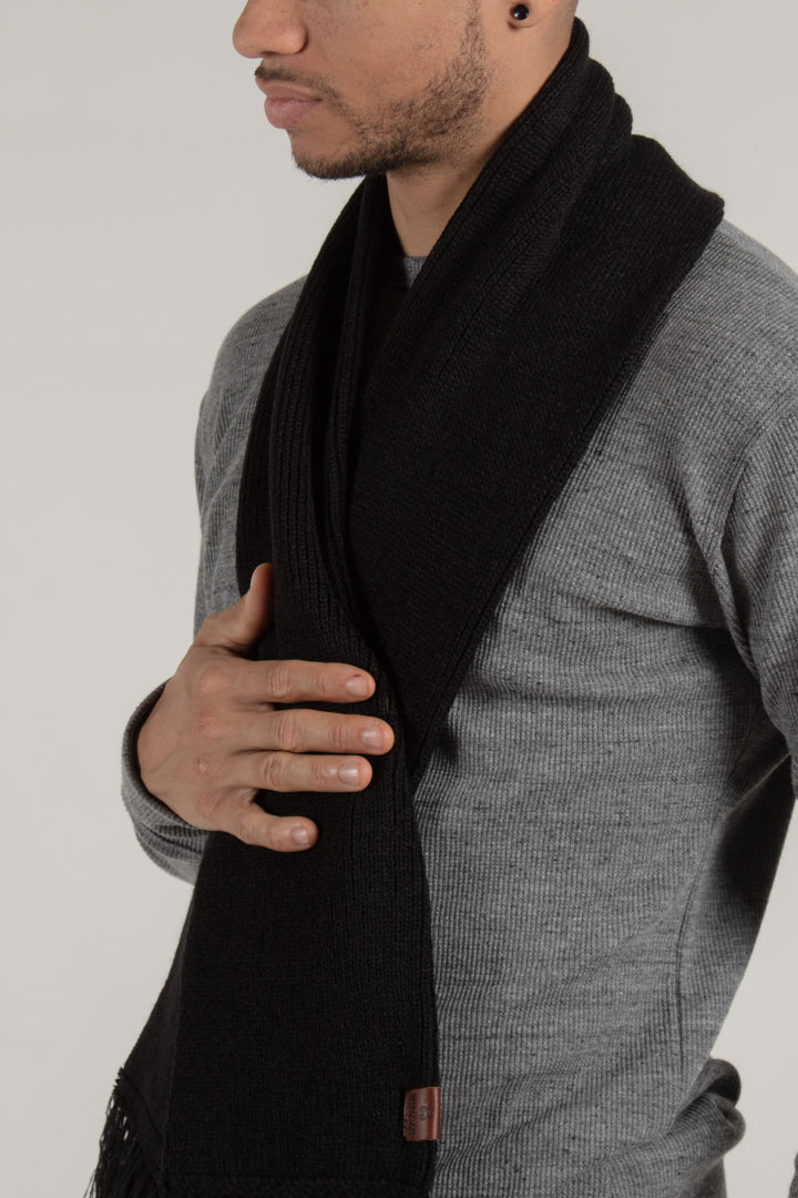 Longford Black Ribbed Scarf - Scarf - Wolfe Co. Apparel and Goods