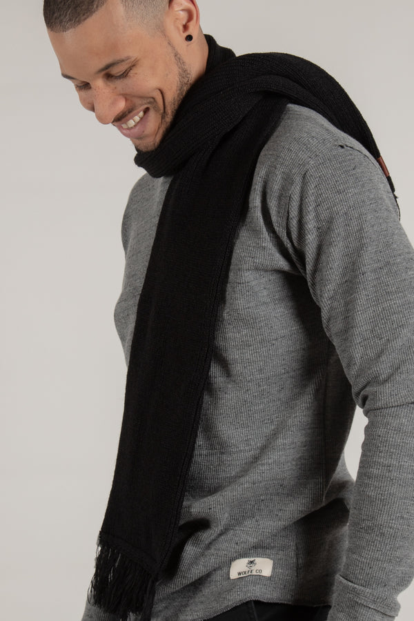 Longford Black Ribbed Scarf - Wolfe Co. Apparel and Goods®