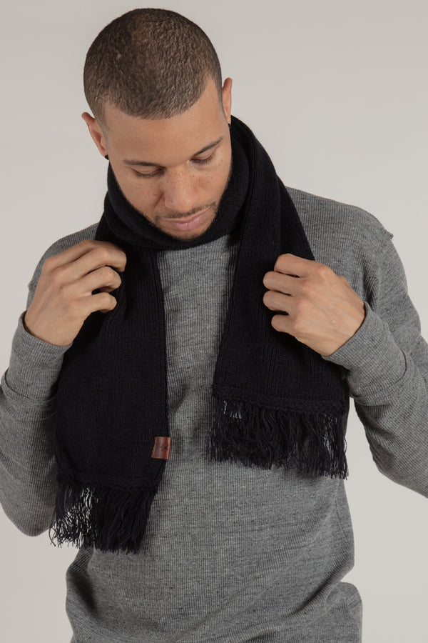 Longford Navy Ribbed Scarf - Scarf - Wolfe Co. Apparel and Goods