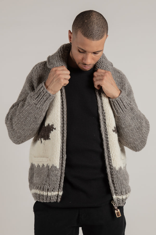 Unisex maple leaf and wolf knit cardigan Made in Canada with pure wool