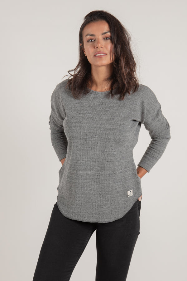 Women's Grey Waffle Knit - Tops - Wolfe Co. Apparel and Goods