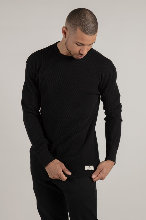 Hawkestone Black Waffle Knit - Wolfe Co. Apparel and Goods®