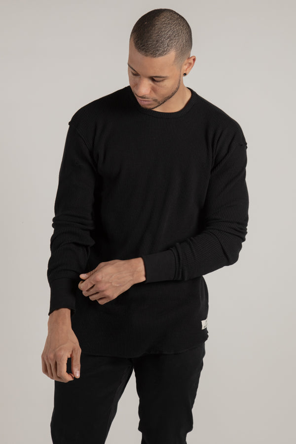 Hawkestone Black Waffle Knit - Tops - Wolfe Co. Apparel and Goods