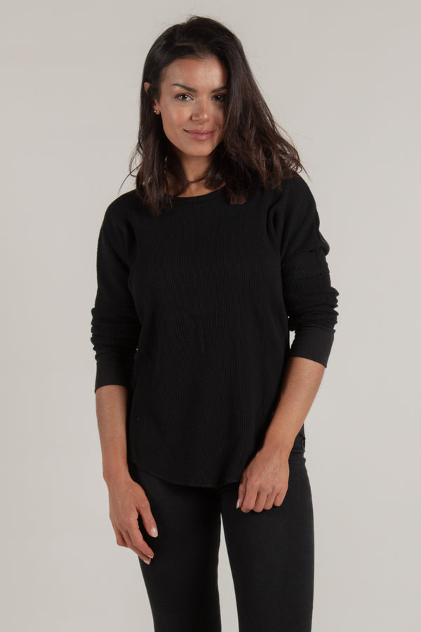 Women's Black Waffle Knit - Tops - Wolfe Co. Apparel and Goods