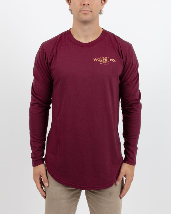 Burgundy Long Sleeve Scoop - Tops - Wolfe Co. Apparel and Goods