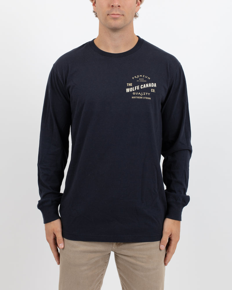 Born in the North Navy Long Sleeve - Tops - Wolfe Co. Apparel and Goods