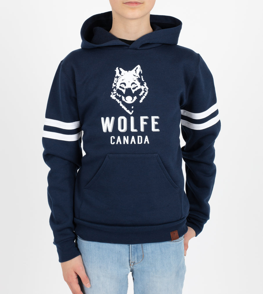 Youth Varsity Hoodie Navy - Tops - Wolfe Co. Apparel and Goods