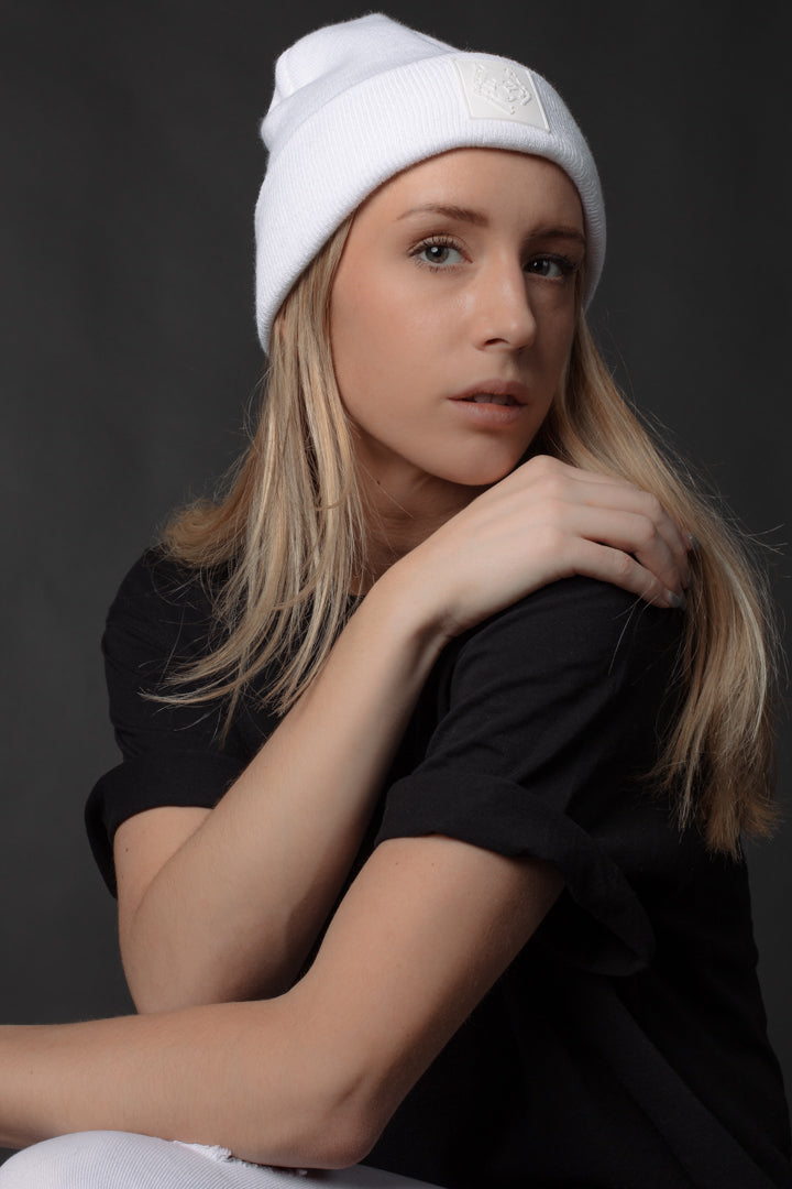 White Toque with Rubber Patch Made in Canada