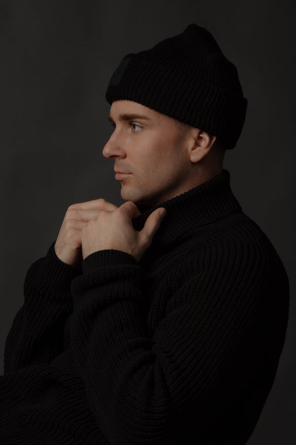Black Ribbed Toque with rubber patch made in canada