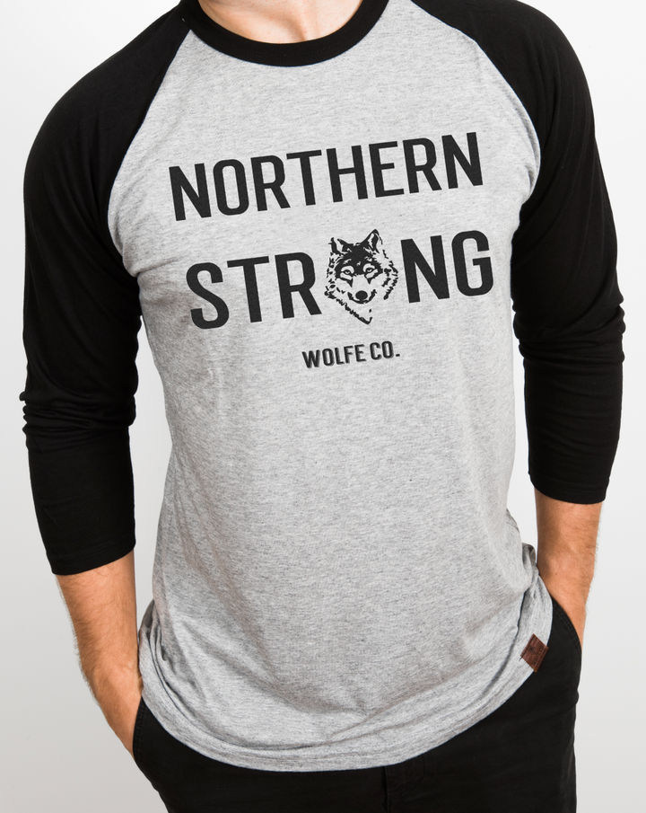 Northern Strong Baseball Tee - Wolfe Co. Apparel and Goods