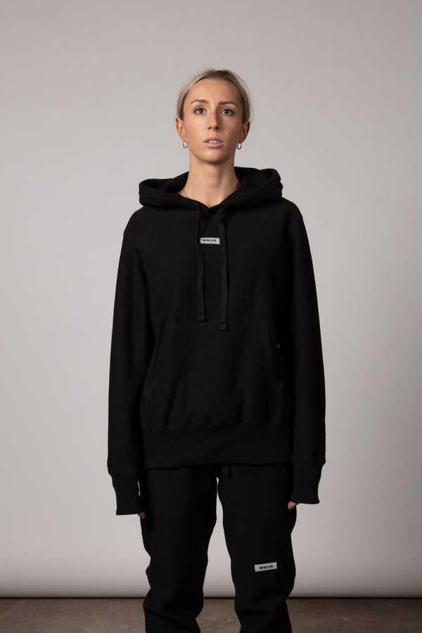 100% Cotton French Terry Unisex Pullover Hoodie Made in Canada with Rubber Patch in Black